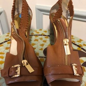 Michael Kors Shoes - Michael Kors gold and brown wedge sandal